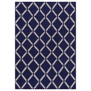 Exquisite Rugs Diamond Dhurrie Royal Blue New Zealand Wool Rug (5' x 8')