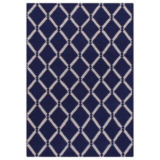 Exquisite Rugs Diamond Dhurrie Royal Blue New Zealand Wool Rug - 5' x 8'