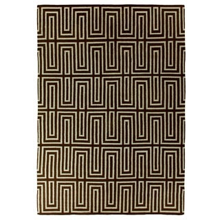 Exquisite Rugs Maze-pattern Dhurrie Blue/Brown Wool Rug (5' x 8')