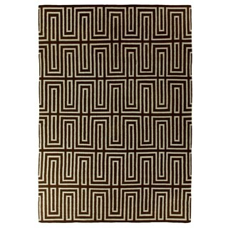 Exquisite Rugs Maze Dhurrie Blue / Brown New Zealand Wool Rug - 5' x 8'