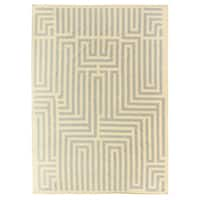 Exquisite Rugs Maze Dhurrie Sand / Blue New Zealand Wool Rug (5' x 8') - 5' x 8'