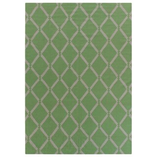 Exquisite Rugs Diamond Dhurrie Light Green New Zealand Wool Rug (5' x 8')