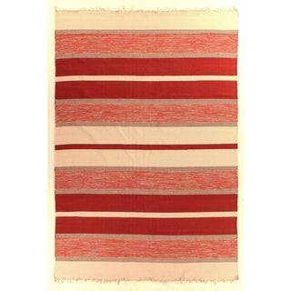 Exquisite Rugs Dhurrie Red Cotton Rug - 5' x 8'