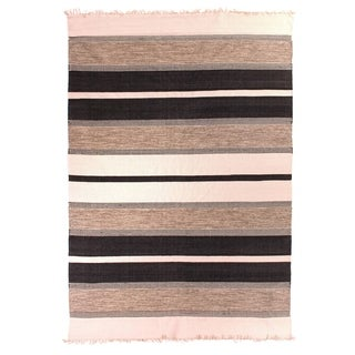 Exquisite Rugs Dhurrie Black Cotton Rug (5' x 8') - 5' x 8'
