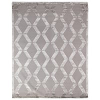 Exquisite Rugs Metro Silver New Zealand Wool and Viscose Rug (9' x 12') - 9' x 12'