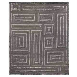 Exquisite Rugs Metro Velvet Dark Grey New Zealand Wool and Viscose Rug (9' x 12')