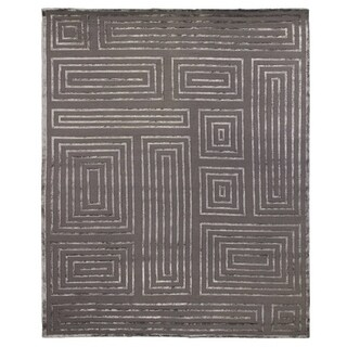 Exquisite Rugs Metro Velvet Dark Grey New Zealand Wool and Viscose Rug (9' x 12') - 9' x 12'