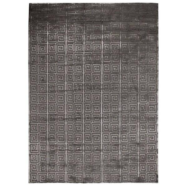 Exquisite Rugs Greek Key Dark Grey New Zealand Wool and Bamboo Rug - 9' x 12'