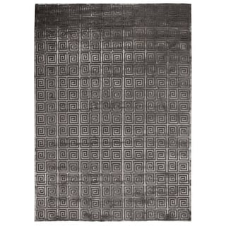 Exquisite Rugs Greek Key Dark Grey New Zealand Wool and Viscose from Bamboo Rug (9' x 12')