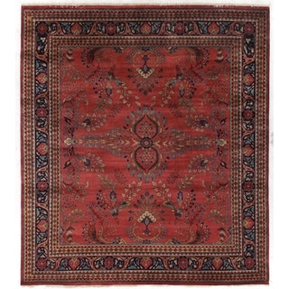 Exquisite Rugs Sarouk Rose/Sage New Zealand Wool Rug (9' x 12')