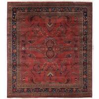 Exquisite Rugs Sarouk Rose/Sage New Zealand Wool Rug (9' x 12') - 9' x 12'