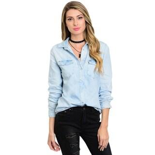 Shop The Trends Women's Long-sleeve Blue Denim Button-up Top