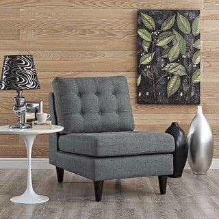 Modway Grey Off-White Tufted Upholstered Empress Side Chair