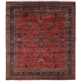 Exquisite Rugs Sarouk Rose/Sage New Zealand Wool Rug (9' x 10')