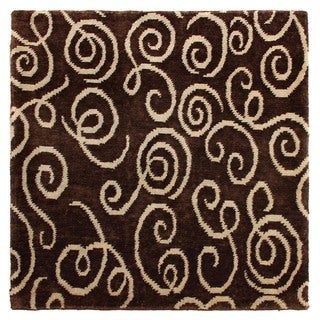 Exquisite Rugs Metropolitan Chocolate/Light Blue New Zealand Wool Rug (9' x 10')