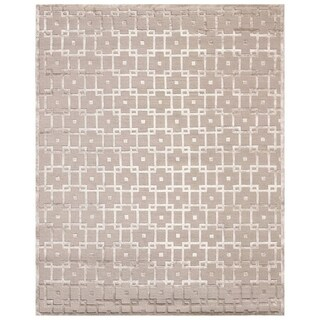 Exquisite Rugs Metro Velvet Beige New Zealand Wool and Viscose Rug (8' x 10')