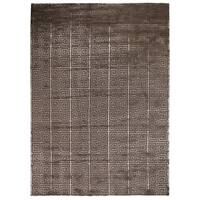 Exquisite Rugs Greek Key Dark Grey New Zealand Wool and Bamboo Silk Rug (8' x 10') - 8' x 10'
