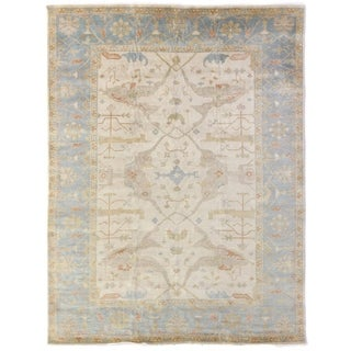 Exquisite Rugs Blue/Ivory Hand-knotted Turkish Oushak Wool Rug (8' x 10')