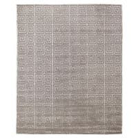 Exquisite Rugs Greek Key Silver New Zealand Wool and Viscose Rug - 8' x 10'