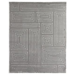 Exquisite Rugs Metro Velvet Silver New Zealand Wool/Viscose Rug (10' x 14')