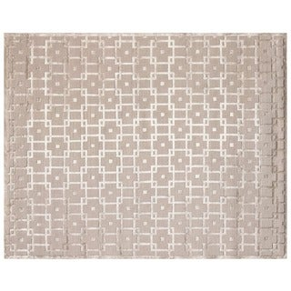 Exquisite Rugs Metro Velvet Beige New Zealand Wool and Viscose Rug (10' x 14')