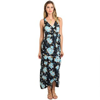 Shop the Trends Women's Multicolor Polyester and Spandex Sleeveless Maxi Dress with Allover Floral Print and Wrapped V-neckline