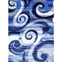 "Persian Rugs Modern Trendz Blue/Grey/White/Black Abstract Area Rug - 7'10"" x 10'6"""