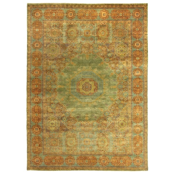 Shop Exquisite Rugs Tabriz Green Blue New Zealand Wool