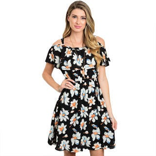 Shop The Trends Women's Multi-color Polyester Print Short Sleeve Dress