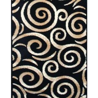 Persian Rugs Swirl Beige/Black Area Rug (7'10 x 10'6)