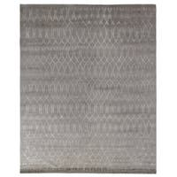 Exquisite Rugs Metro Velvet Silver Wool and Silk Art Rug - 10' x 14'