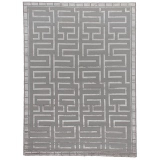 Exquisite Rugs Hand-knotted Metro Velvet Silver Wool/Art Silk Rug (10' x 14')