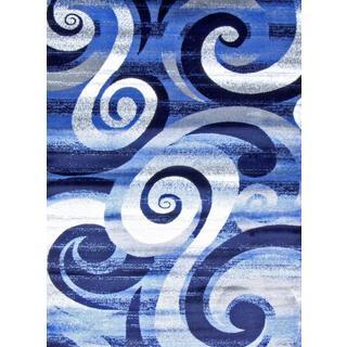 Persian Rugs Modern Trendz Blue/Grey/White/Black Polypropylene Area Rug (5'2 x 7'2)