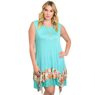 Shop The Trends Women's Plus Size Mint and Contrasting Hem Rayon and Spandex Sleeveless Dress