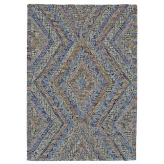 Grand Bazaar Tufted Iona Beige/Blue Cotton/Wool Rug (2' x 3')