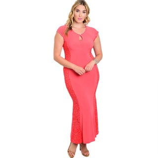 Shop The Trends Women's Plus Size Cap-sleeve Maxi Dress with Round Neckline and Lace-like Design Panel on Sides