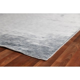 Exquisite Rugs Silky Touch Blue Viscose Rug (15' x 20') - 15' X 20'