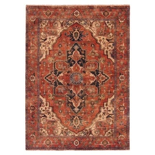 Exquisite Rugs Red New Zealand Wool Serapi Rug (15' x 20')