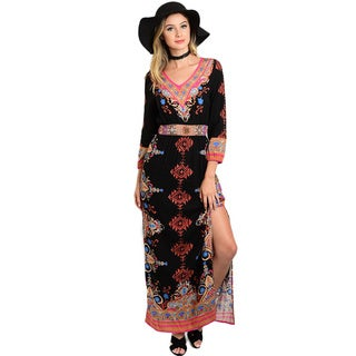 Shop The Trends Women's Multicolor Print Rayon 3/4-sleeve Maxi Dress