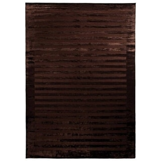 Exquisite Rugs Wide Stripe Chocolate Viscose Rug (14' x 18')