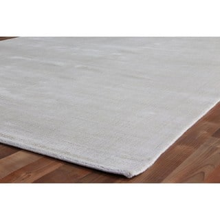 Exquisite Rugs Super Gem Silver and Light Grey Bamboo Silk Rug (14' x 18')