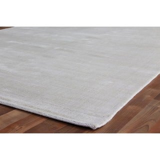 Exquisite Rugs Super Gem Silver / Light Grey New Zealand Wool and Bamboo Silk Rug (14' x 18')