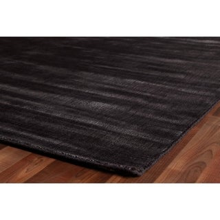 Exquisite Rugs Super Gem Charcoal New Zealand Wool and Bamboo Silk Rug (14' x 18') - 14' x 18'