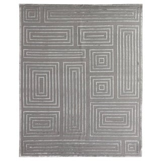 Exquisite Rugs Metro Velvet Silver New Zealand Wool and Viscose Rug (14' x 18')