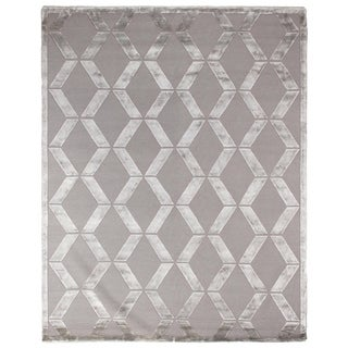 Exquisite Rugs Metro Velvet Silver New Zealand Wool and Viscose Rectangular Hand-knotted Rug, (14' x 18')