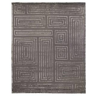 Exquisite Rugs Metro Velvet Dark Grey New Zealand Wool and Viscose Rug (14' x 18')