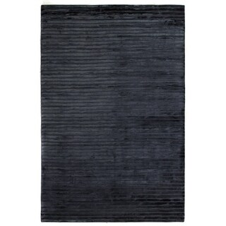 Exquisite Rugs High-low Navy Viscose Rug (14' X 18')