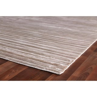 Exquisite Rugs High Low Light Silver Viscose Rectangular Rug (14' x 18')