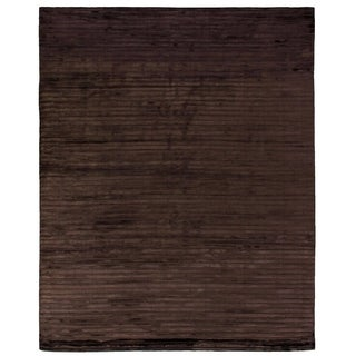 Exquisite Rugs High Low Chocolate Viscose Rug (14' x 18')