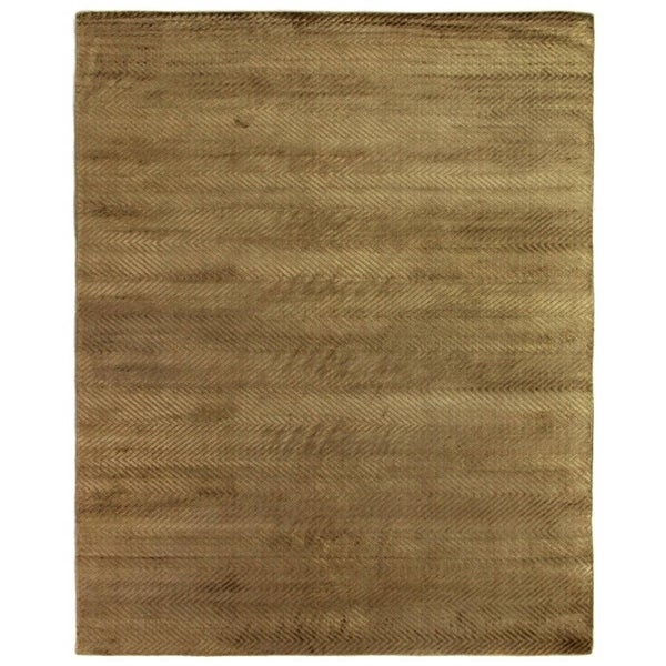 Exquisite Rugs Herringbone Khaki Viscose Rug (14' x 18')